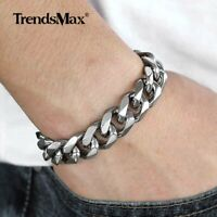 "14.5mm 7-11"" Cuban Curb Link Bracelet Silver 316L Stainless Steel Chain Bangle"