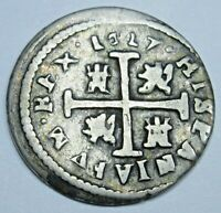 1627 Spanish Silver 1/2 Reales Antique 1600s Colonial Pirate Treasure Cross Coin