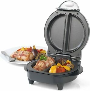 Salter Non-Stick Dual Omelette Maker 750W Cool Touch Handles Black Recipes Incul