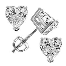 1.50 tcw Heart Cut Solitaire Stud Earrings Solid 14k White Gold Screw Back VVS1
