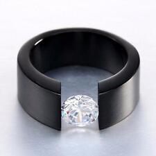 Luxus Herrenring Wolfram schwarz Zirkonia weiß Verlobungsring R3029L