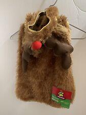 Dog Christmas Rudolph Costume Jacket With Hood Antlers Medium