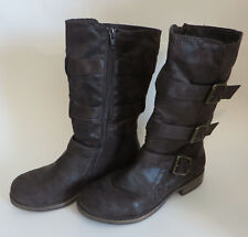 36b7fec6a328 Womens Crown Vintage Distressed Mid Calf Boots Brown Zip Side Size 5.5M