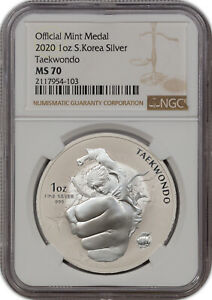 2020 OFFICIAL MINT MEDAL 1OZ S.KOREA SILVER TAEKWONDO NGC MS 70 FINEST KNOWN**