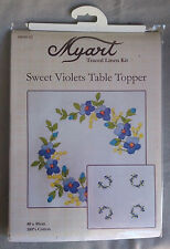 Sweet Violets traced linen table topper by Myart 80 x 80cm in 100% cotton