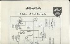 Rare 1939 Allied Radio 4 Tube 1.4 Volt Portable AM Radio Kit Owner's Manual