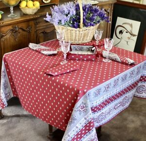 Marat Avignon Bastide Burgundy Square French Tablecloth 150x150cm Made in France