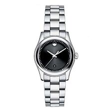 NEW Movado 0606482 Sportivo Stainless Steel Black Museum Dial Women's Watch $995