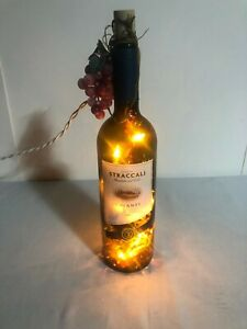 GREEN WINE BOTTLE w/ PURPLE GRAPES PLUG IN LIGHTS BOTTLE DECORATIONS WINE DECOR