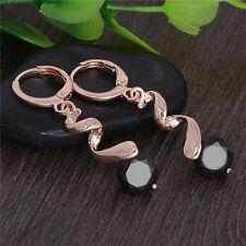 18K Rose Gold plated Cubic Zirconia Dangle/Drop Ear Hoop Earrings Jewelry New