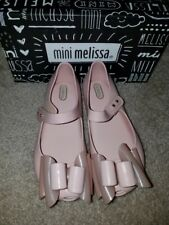 NEW MINI MELISSA ULTRAGIRL TRIPLE BOW SHOES NUDE SIZE 12, 💯% AUTHENTIC