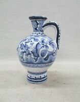 Coimbra Portugal Pottery Blue White Pitcher sec XVII Hand Painted Ceramic (AL)