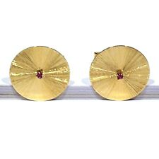 SOLID 14K YELLOW GOLD RUBY WING BACK CUFFLINKS