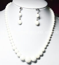 """6-14mm White Carving Coral Gems Round Beads Necklaces Earrings Set 18"""" JN 585"""