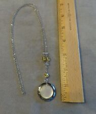 """Antique Silver Tone Round Mother of Pearl Photo Locket on 27"""" Chain~Crystal Bead"""