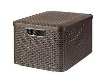 Curver Aufbewahrungskorb Korb Box Deckel 3 Farben L Rattan Style Aufbewahrung