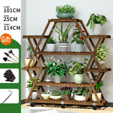 US Multi-Tier Wooden Flower Plant Display Stand Wood Storage Rack Plant Stands