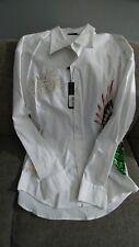 Ed Hardy Christian Audigier-Long sleeve Button down white shirt Mens XL Studded!