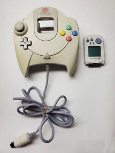 Sega Dreamcast White Controller HKT-7700 w/ VMU Memory Card OEM Cleaned Tested!