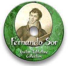 FERNANDO SOR GUITARRA CLÁSICA Tab LIBRO DE tablaturas de canciones CD software