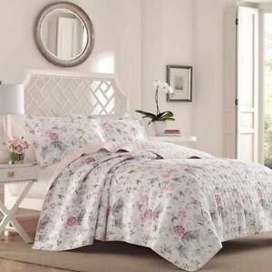 Laura Ashley Breezy Floral Pink Full Queen Full Reversible Quilt Set w/ Shams
