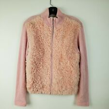 Victoria Harbour Long Sleeve Women's Small Pink Soft Goat Fur Full Zip Sweater