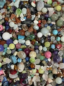 3oz Semi Precious Bead Soup Mixed Lot Gemstone Beads Small Pcs Chip 🖤3 ounce