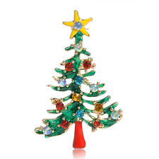 Multi-Colored Crystal Christmas Tree Flower Brooch Pin Jewelry Christmas Gift