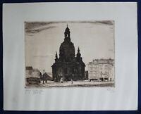 """Radierung von Erich Wünsche """"Dresden Frauenkirche"""" 1921 Kunst Grafik sf"""