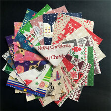 20* Fabric Bundle Cotton Patchwork Sewing Tissue Cloth Merry Christmas Xmas DIY