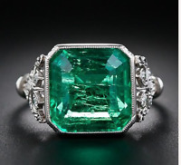 925 Sterling Silver 4.72.ct Emerald Cut Antique Art Deco Vintage Engagement Ring