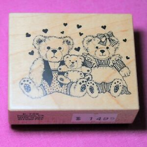 Vintage PSX Wooden Rubber Ink Stamp for Card Making, Teddy Bears with Baby, USA
