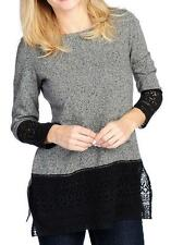 NEW OSO Casuals® French Terry Knit Long Sleeved Round Neck Lace Trimmed Top - M