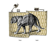 Tiger Whiskey Hip Flask Designer Graphic Altered Art Zoo Unique Gift Oso & Bean