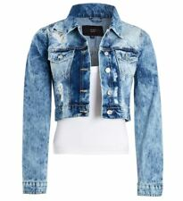 Womens Acid Blue Denim Jacket Ladies Rip Jean Cropped Jackets Size 6 8 10 12 14