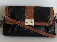 Chaps Womens Blk/Brown Marisa Convertible Wristlet/Crossbody Bag Purse Sale