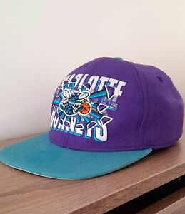 Vintage Mitchell and Ness Charlotte Hornets Purple  NBA Snapback Hat Cap