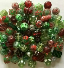 Handmade Lampwork Glass 50 Pieces Christmas Bead Mix Holiday Lot Red Green Fancy