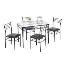 Hot Kitchen 5 Piece Metal Dining Table Set 4 Chairs Glass Dining Room Furniture
