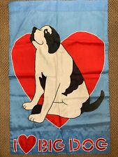 Big Dogs Outdoor Flag Large Love Blue Red Heart Valentines day St Bernard