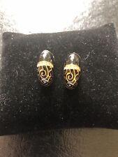 Jackie Kennedy Camrose & Kross Gold-tone Black Enamel Post Earrings