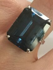 Very Large Rare Natural Emerald Cut London Blue Topaz Ring 14K Gold 20x15 MM