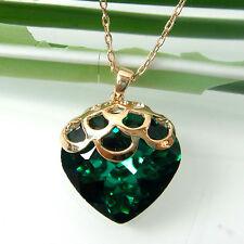 Navachi Drop Love Heart Emerald Green Zircon Crystal Necklace Pendant BH6326