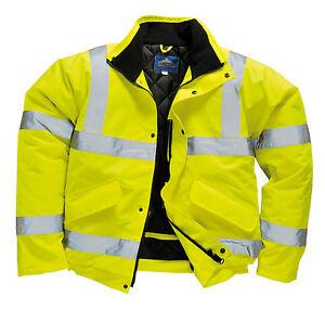 Portwest Hi Vis Bomber Jacket High Visibility Waterproof Coat Jacket Viz XXS-8XL