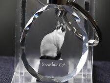 Snowshoe, Llavero redondo de cristal con gato, Crystal Animals ES
