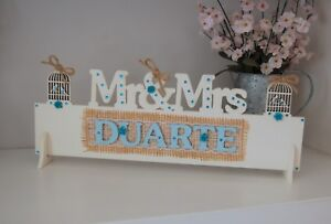 Rustic Wedding Sign, PERSONALISED Mr and Mrs Gift ANY SURNAME ANY COLOUR