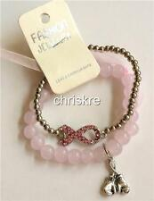Pink Ribbon Crystal Charm Bracelet Stretch Boxing Gloves Breast Cancer Awareness
