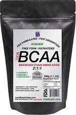 500g (1.1 Lb) BCAA 2:1:1 FREE FORM INSTANTIZED PURE PHARMACEUTICAL GRADE POWDER