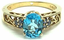 Sterling Silver Gold Tone Oxidized Swiss Blue Topaz Tanzanite Cocktail Band Ring