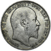1902 CROWN - EDWARD VII BRITISH SILVER COIN - NICE